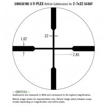 VORTEX Crossfire II 2-7x32 Scout Scope Riflescope V-Plex Reticle MOA
